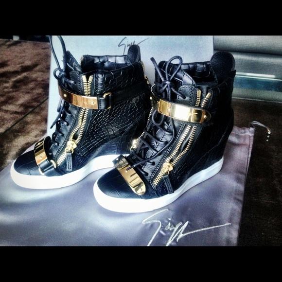 f5c5acda77d13 Giuseppe Zanotti Shoes - Size 37 Giuseppe Zanotti black croc wedge sneakers